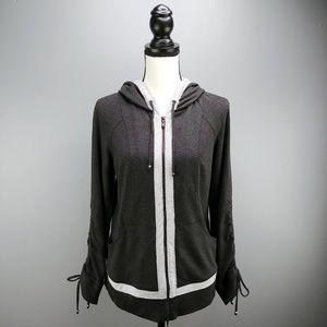 St. John Zip Up Hooded Jacket Drawstring Sleeves